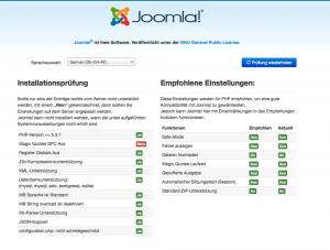 erster Schritt der Joomla 3 Installation
