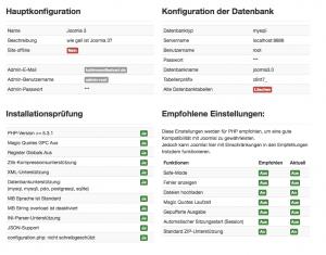 Überblick über die Joomla-Konfiguration