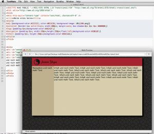 Layout mit anderer Textfarbe und Hintergrundmuster