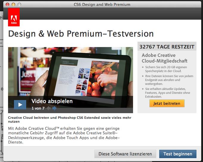 Testversion Adobe: 32767 Tage Restzeit