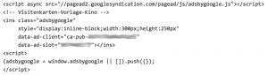 adsense-code nach dem Einfügen in WordPress