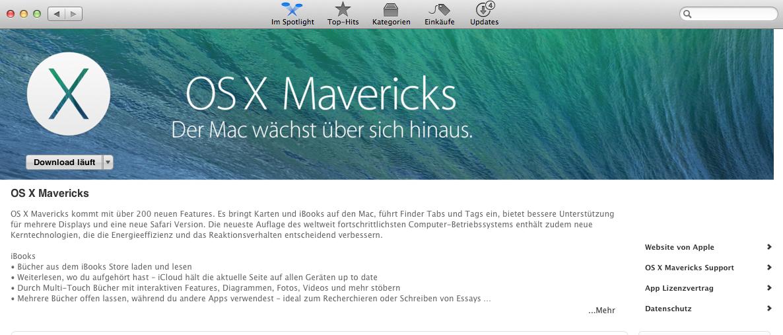 update auf Mavericks – OS X 10.9 – Achtung