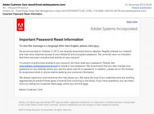 E-Mail von Adobe mit Aufforderung zur Rücksetzungs des Kennworts.