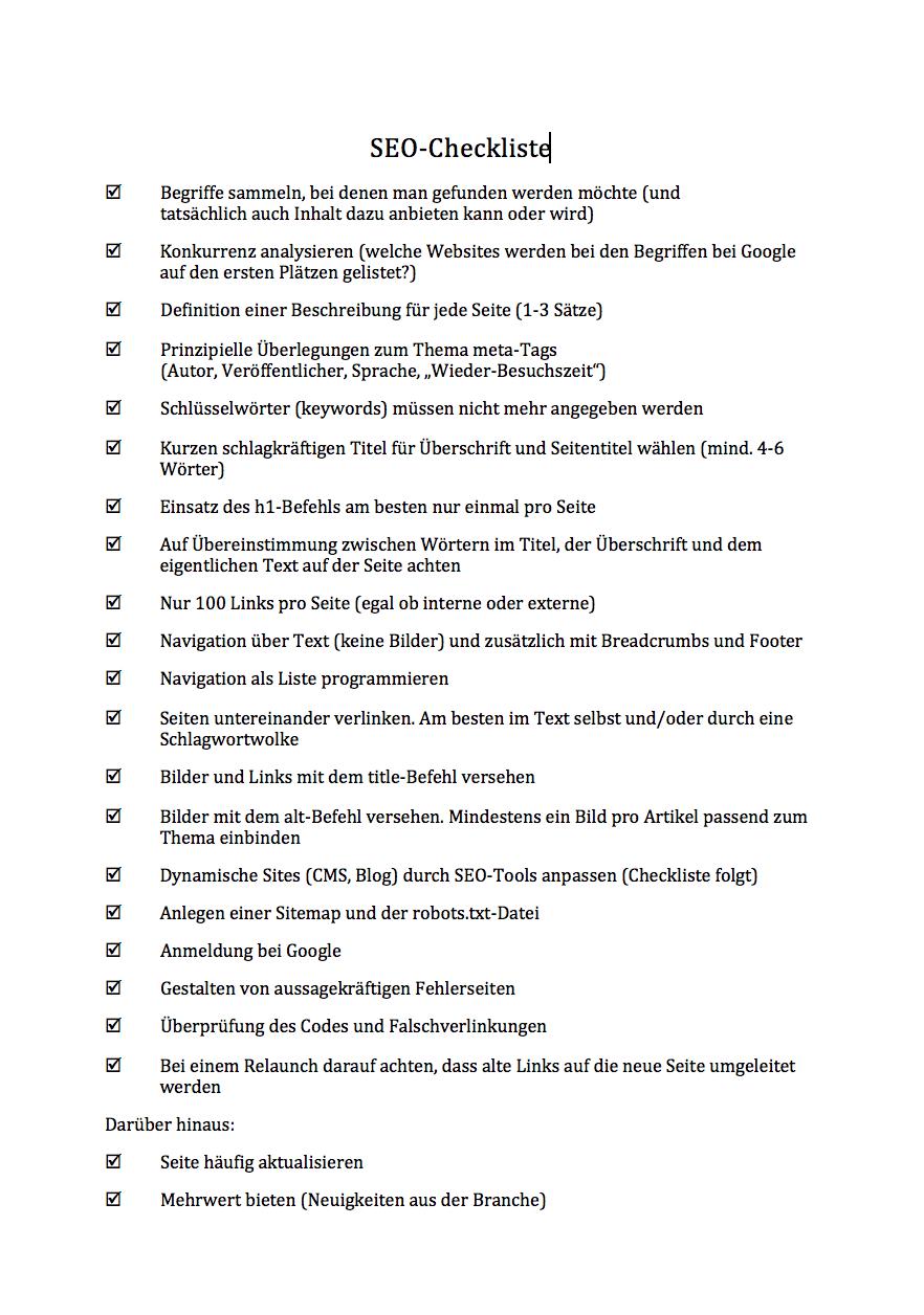 SEO-Checkliste - die wichtigsten Kriterien kurz umrissen ...