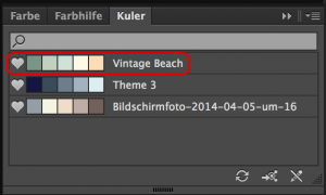 Favorit erscheint in Kuler-Palette in Illustrator