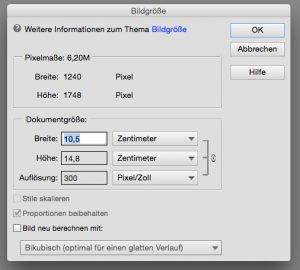 Bildgrößen-Dialog in Photoshop Elements