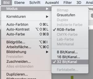 Bildmodus in 32 Bit pro Kanal