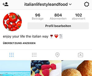 Instagramprofil von mir