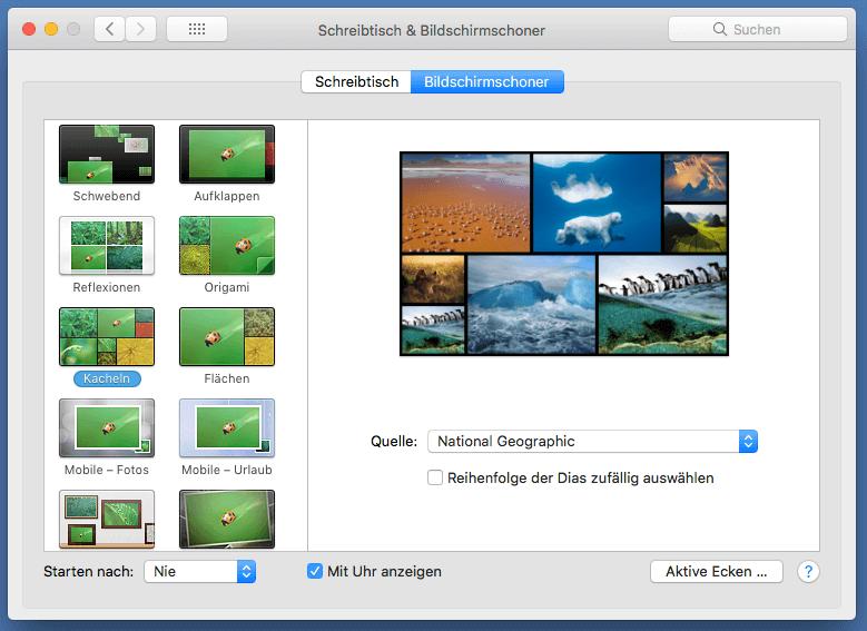 Bildschirmschoner-Funktion MacOS