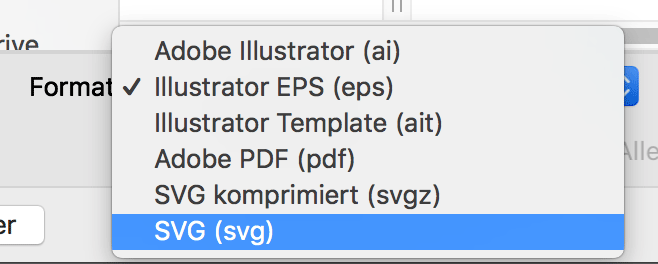 SVG-Dateiformat anwählen in Illustrator
