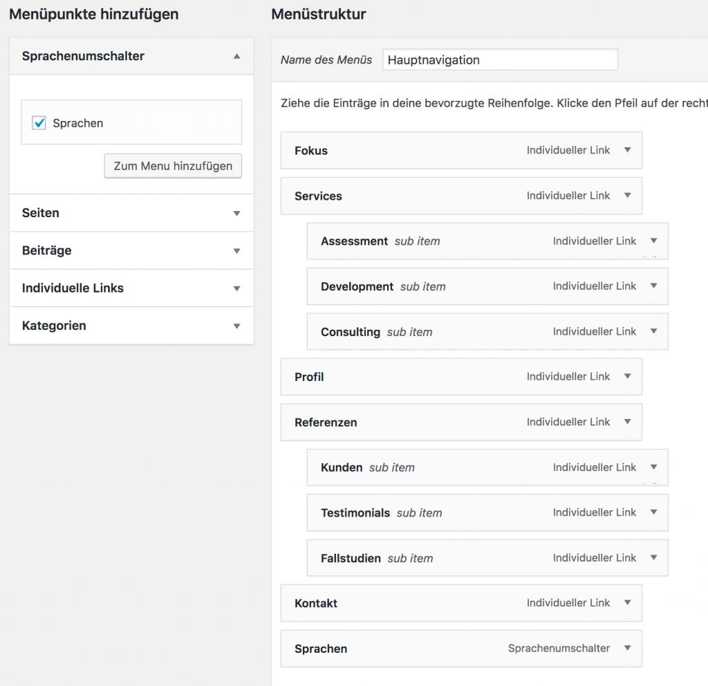 Sprachumschalter zum Menü hinzufügen (WordPress / Polylang)