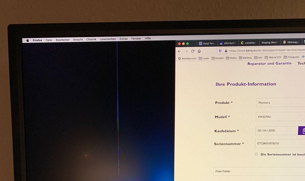 Pixelfehler am BenQ-Monitor